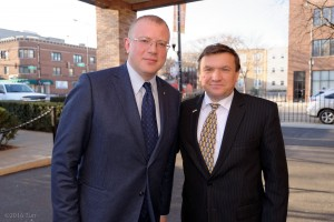 The Honorable Andriy Shevchenko Ambassador of Ukraine to Canada and Yulia Marushevska Chief of Customs Bureau in Odessa, Ukraine at Ukrainian Cultural Center Chicago,