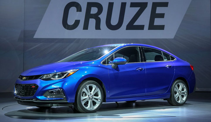 The 2016 Chevrolet Cruze compact sedan makes its world debut Wednesday, June 24, 2015 in Detroit, Michigan. The larger, lighter Cruze features a new 1.4L turbo engine with direct injection offering a GM-estimated 40 mpg highway. Android Auto and Apple CarPlay are available, as well as adaptive safety features. The 2016 Cruze will be available in early 2016, with a diesel model to follow in 2017. (Photo by John F. Martin for Chevrolet)