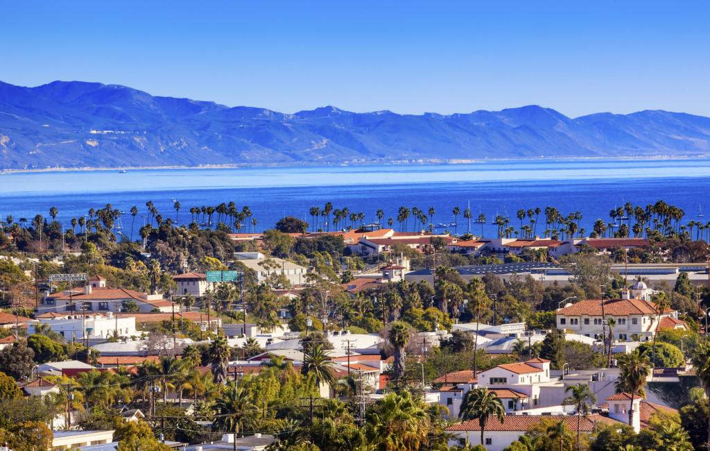 Orange Roofs Buildings Coastline Pacific Oecan Santa Barbara California