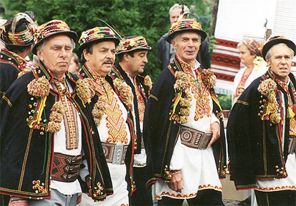 Hutsul men in traditional dress