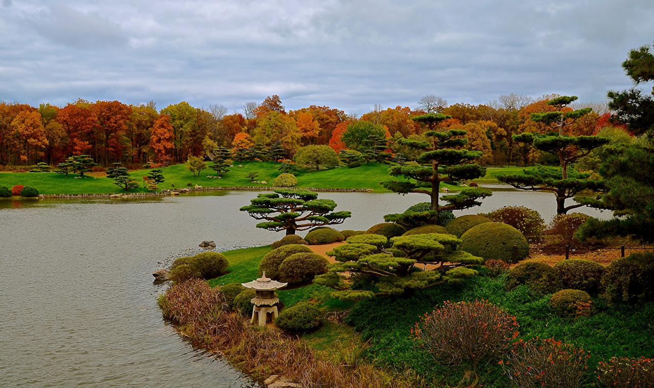 USA_Parks_Pond_Autumn_Botanic_Garden_Chicago_city_521014_1280x760