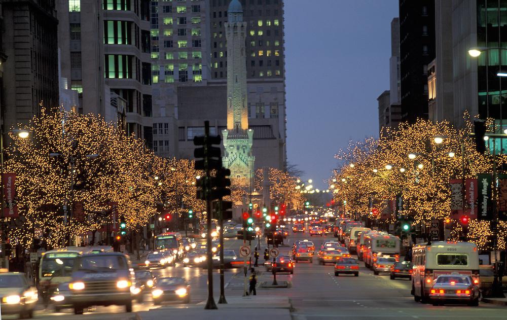 Christmas lights, Michigan Avenue, Chicago, Illinois, USA