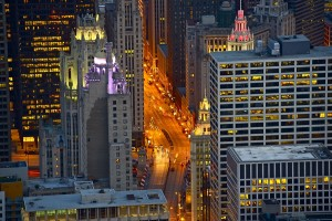 Streets of Chicago at Night - Bird Eye View. Michigan Avenue. Chicago USA