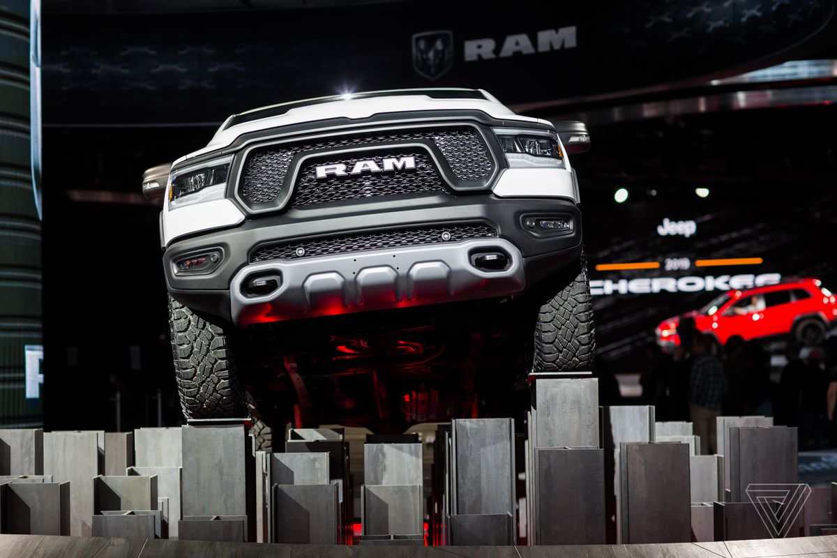 Fiat Chrysler also decorated its booth with trucks and SUVs. The Ram and the Cherokee both got updates this year.