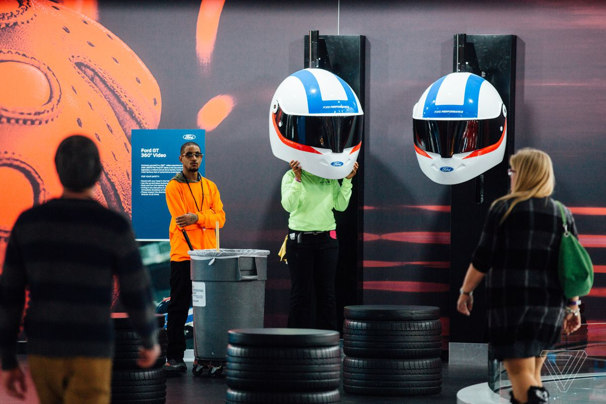 Not to be outdone by anyone, Ford has a VR-style experience at its booth where you put a giant racing helmet over your head.