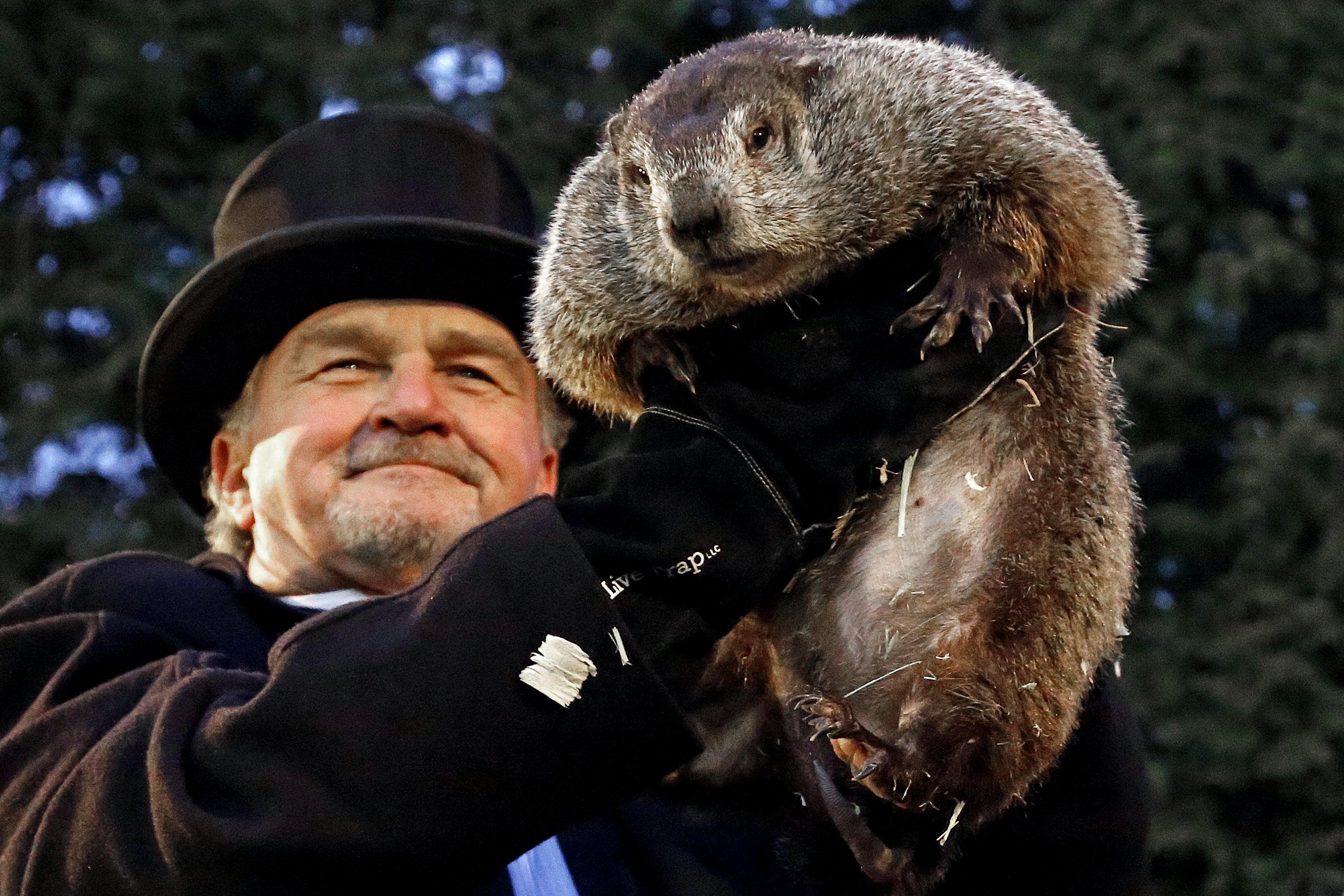 Groundhog Club handler John Griffiths holds Punxsutawney Phil, the weather prognosticating groundhog, during the 131st celebration of Groundhog Day on Gobbler's Knob in Punxsutawney, Pa. Thursday, Feb. 2, 2017. Phil's handlers said that the groundhog has forecast six more weeks of winter weather. Gene J. Puskar, The Associated Press