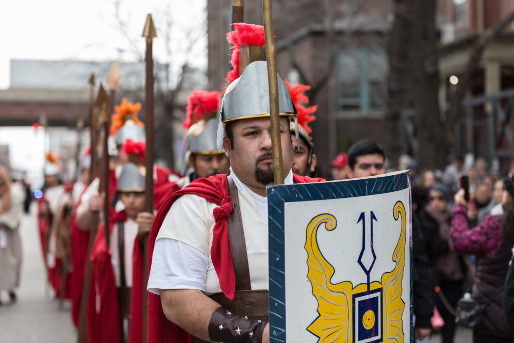 Hundreds of people walked through Pilsen for the 41st annual Pilsen Via Crucis. | Erin Brown/Sun-Times