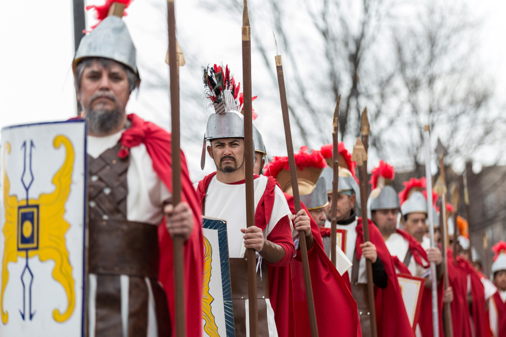 Hundreds of people walked through Pilsen for the 41st annual Pilsen Via Crucis, a procession that reenacts the before, during and after of Jesus' crucifixion on Good Friday, March 30, 2018.   Erin Brown/Sun-Times