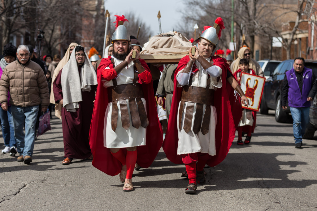 Jesus is carried through the streets after his crucifixion.   Erin Brown/Sun-Times